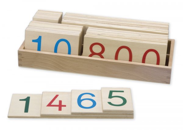 Hölzerner Zahlenkartensatz klein, Komplettset, 36-tlg.