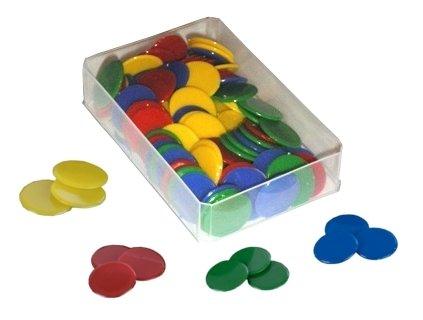Plastik-Chips vollfarbig, 100 St.-Box