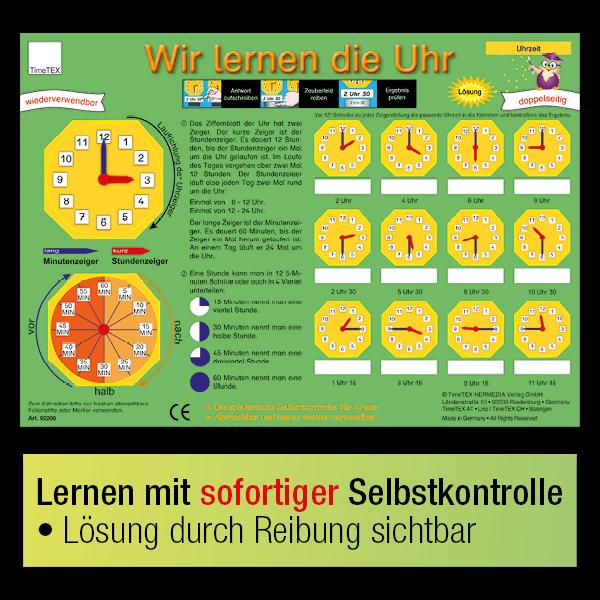 """TimeTEX Zaubertafel """"Wir lernen die Uhr"""""""