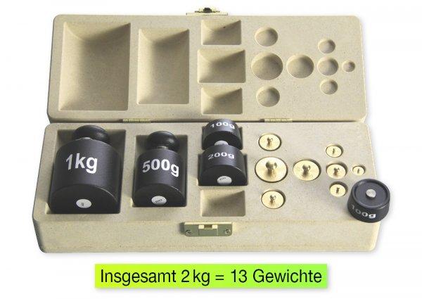 Gewichte-Satz für Tafelwaage, 2 kg, 13-tlg., in Klappdeckel-Box