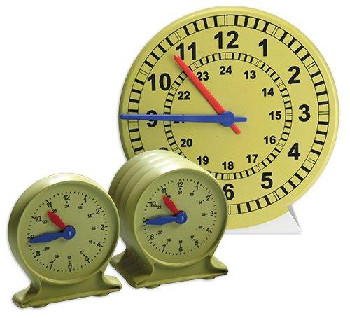Lern-Uhren-Satz 1-24 mit drehbaren St.- + Min.-Zeigern