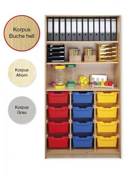 Material-Hochschrank-Regal L, Plustiefe, 3 Fachböden, 12 Schubladen XL