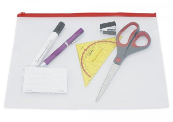 Set Utensilien-Taschen A4 mit Zippverschluss, transparent, 5-tlg.