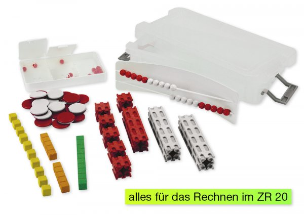 Mathe-Basis-Set Plus ZR 20, 58-tlg, in Box, rot/weiß