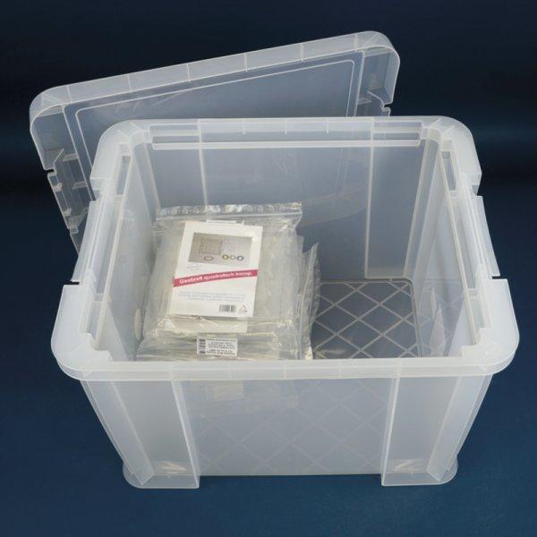 Klassensatz Geometrie-Brett eins. (5x5 Stifte), 24 Stk. im Koffer, 15x15 cm, transparent