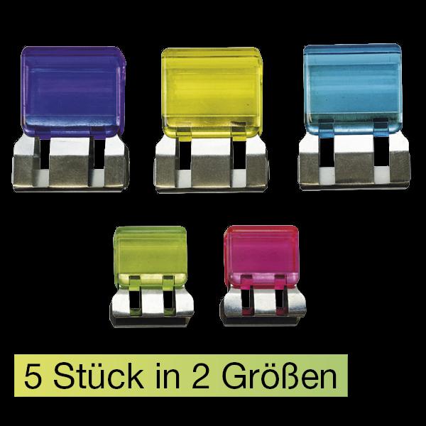 Set Papierstapel-Klammern, 5-tlg., transparent, 2 Größen