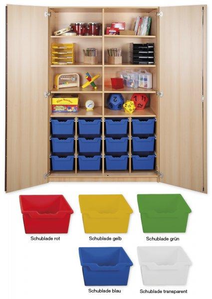 Material-Hochschrank XXL, Plustiefe, 8 Fachböden, 12 Schubladen XL