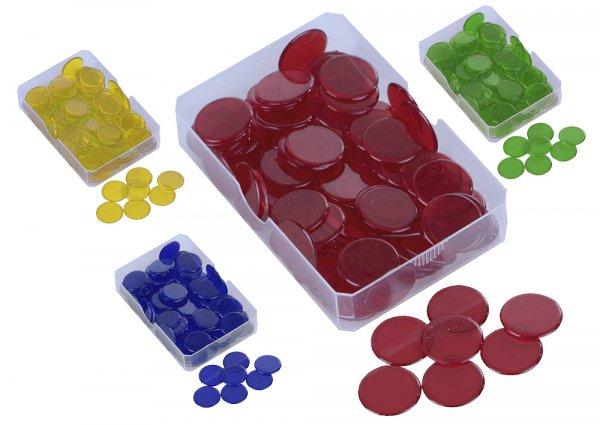 Plastik-Chips transparent, einfarbig, 100 St.-Box