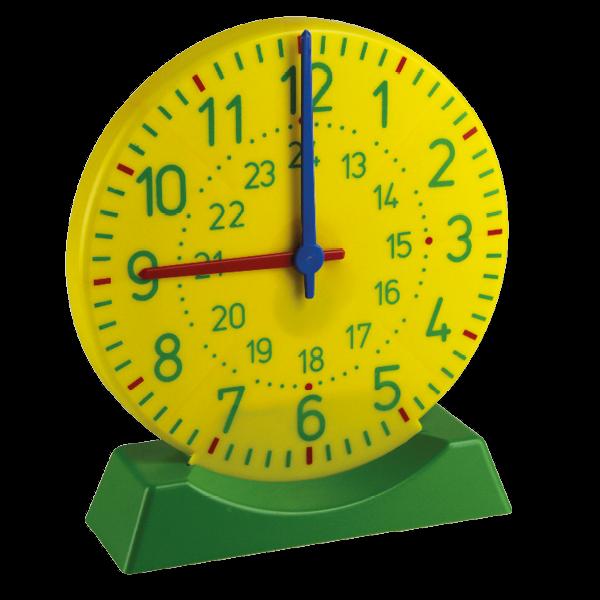 Demo-Lern-Uhr mit Standfuß, 1-24, 27 cm ø