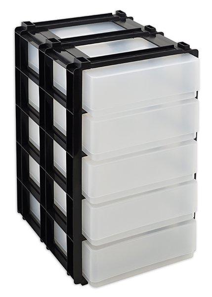 Schubladen-Block mit 5 Kunststoff-Boxen A5, stapelbar
