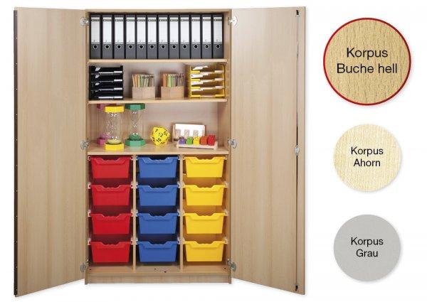 Material-Hochschrank L, Plustiefe, 3 Fachböden, 12 Schubladen XL