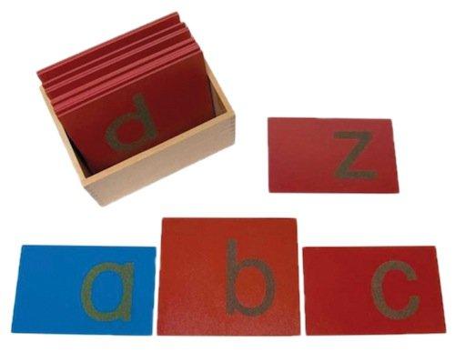 Sandpapierbuchstaben, Kleinbuchstaben, in Holzbox