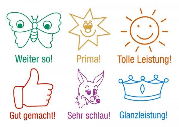 "Set Holz Lehrer-Stempel 6-tlg. ""Ansporn"", versch. Farben"