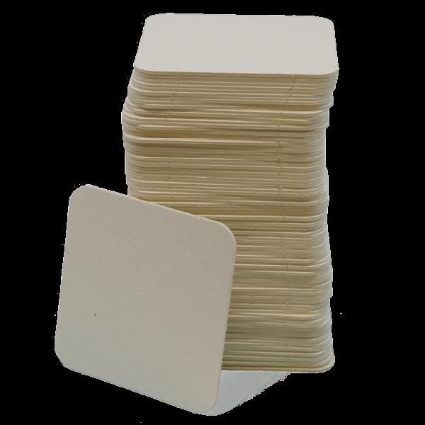 Blanko Bierglasuntersetzer quadratisch, 100 Stück