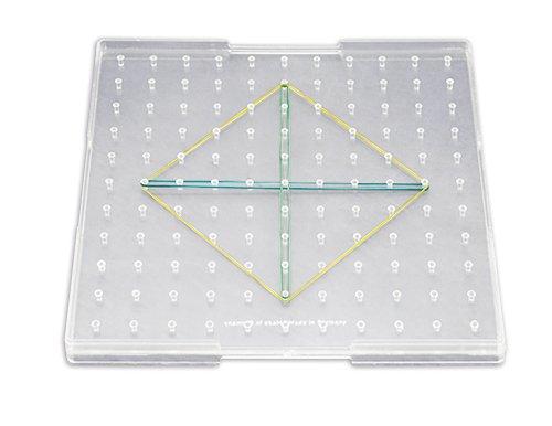 Klassensatz Geometrie-Brett eins. (11x11 Stifte), 12 Stk. in Box, 23x23 cm, transp.