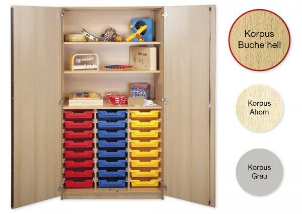 Material-Hochschrank L, Plustiefe, 3 Fachböden, 24 Schubladen L