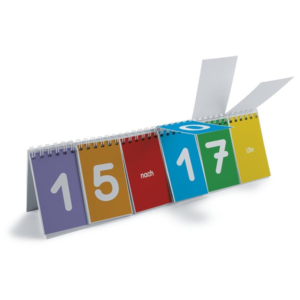 Klappen-Flipchart aus Pappe, Uhrzeit