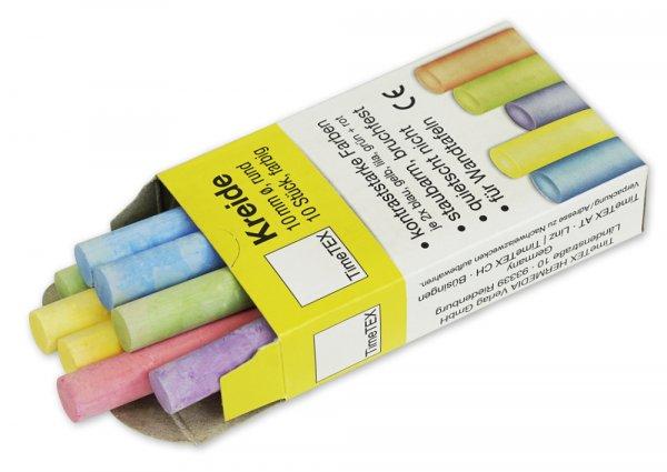Kreide 10 mm ø, farbig, im 10-er Pack