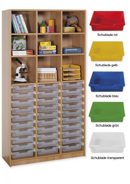 Material-Hochschrank-Regal L, Basistiefe, 9 Fachböden, 30 Schubladen L