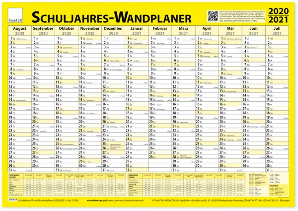 TimeTEX Schuljahres-Wand-/Projektplaner 2020/2021