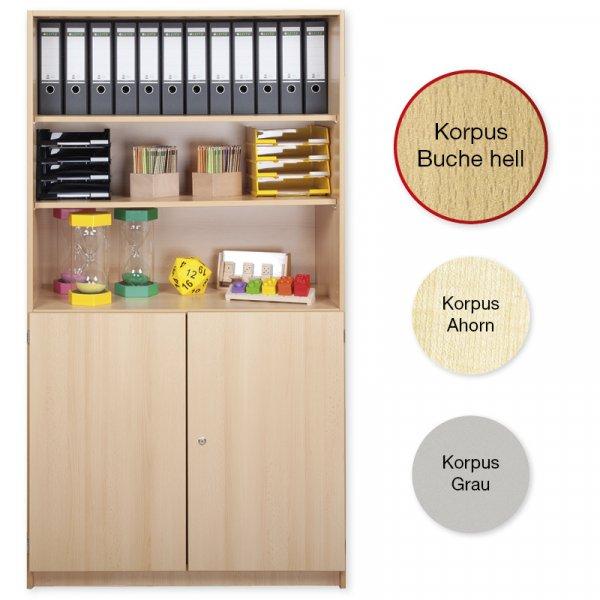 Material-Kombi-Hochschrank-Regal L, Plustiefe, 6 Fachböden