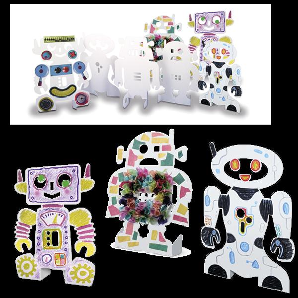Kleine Papp-Roboter zum Selbstgestalten, 24 Stück