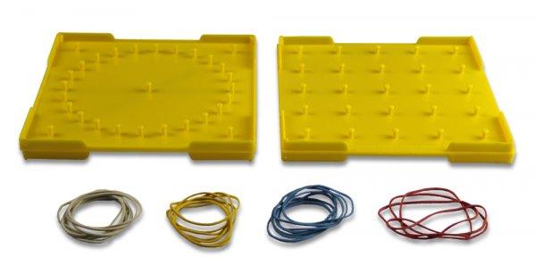 Geometrie-Brett doppelseitig (5x5 Stifte), 15x15 cm, gelb