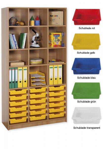 Material-Hochschrank-Regal L, Basistiefe, 12 Fachböden, 18 Schubladen L
