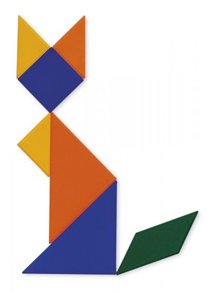Tangram aus Kunstst. transparent, 28-tlg. = 4 Tangrame in Box