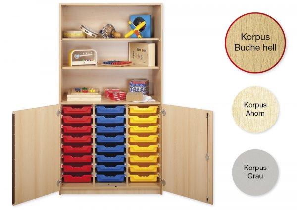 Material-Kombi-Hochschrank-Regal L, Plustiefe, 3 Fachböden, 24 Schubladen L