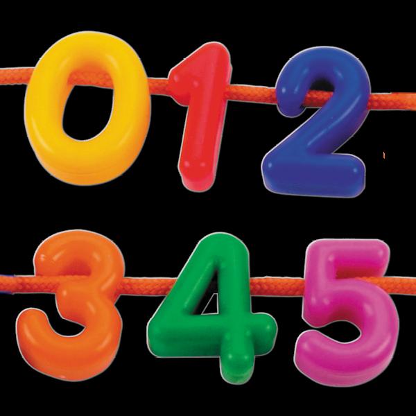 Ziffern zum Auffädeln, farbig sortiert, 276-tlg. in Box