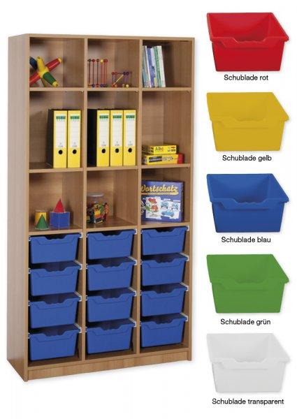 Material-Hochschrank-Regal L, Basistiefe, 9 Fachböden, 12 Schubladen XL