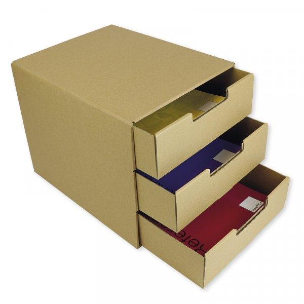 Schubladen-Box A4 mit 3 Schüben, aus Pappe, natur